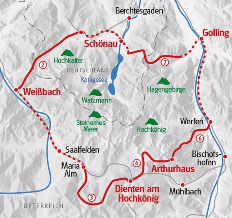 Karte Wandern in den Bayerischen und Salzburger Alpen - Vom Königssee zum Hochkönig