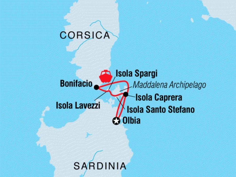 122Y40227 Segelabenteuer von Sardinien nach Korsika Karte