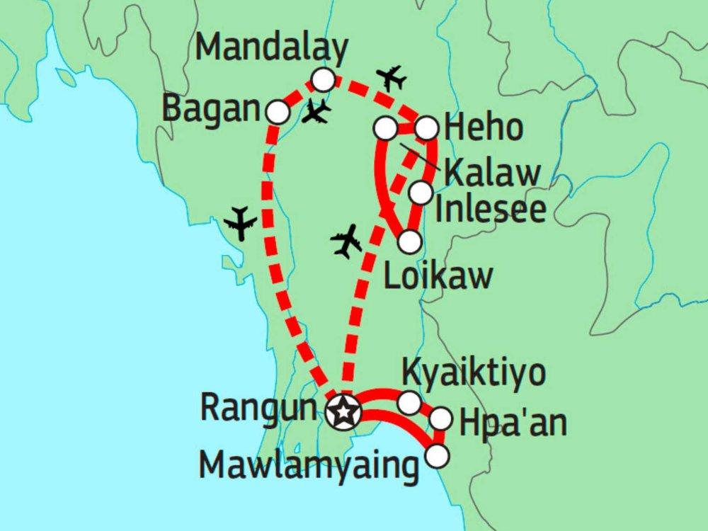 151Y10250 Myanmar Kulturerlebnis Karte