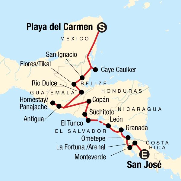 Mittelamerika Erlebnisreise Karte