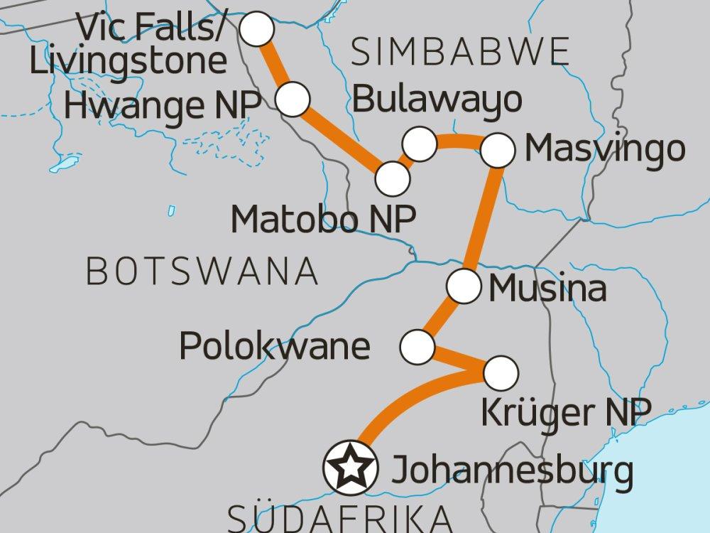 Krüger Matobo Hwange Karte