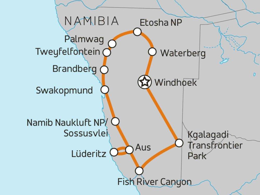 Namibia Komfort-Safari Karte