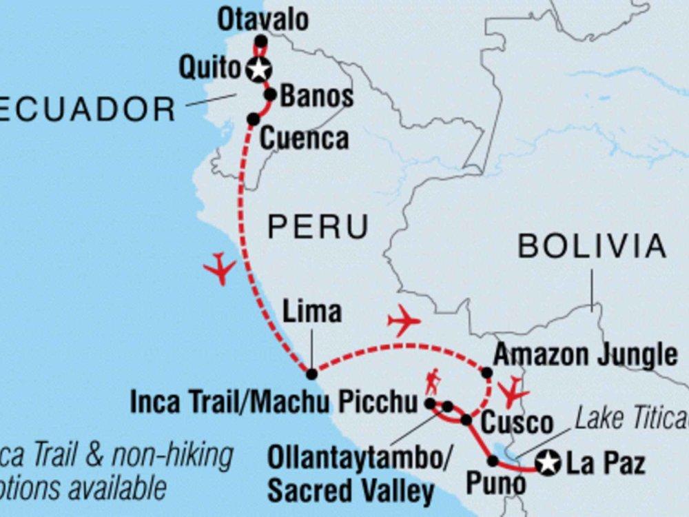 131Y21151 Abenteuerreise durch Ecuador und Peru Karte