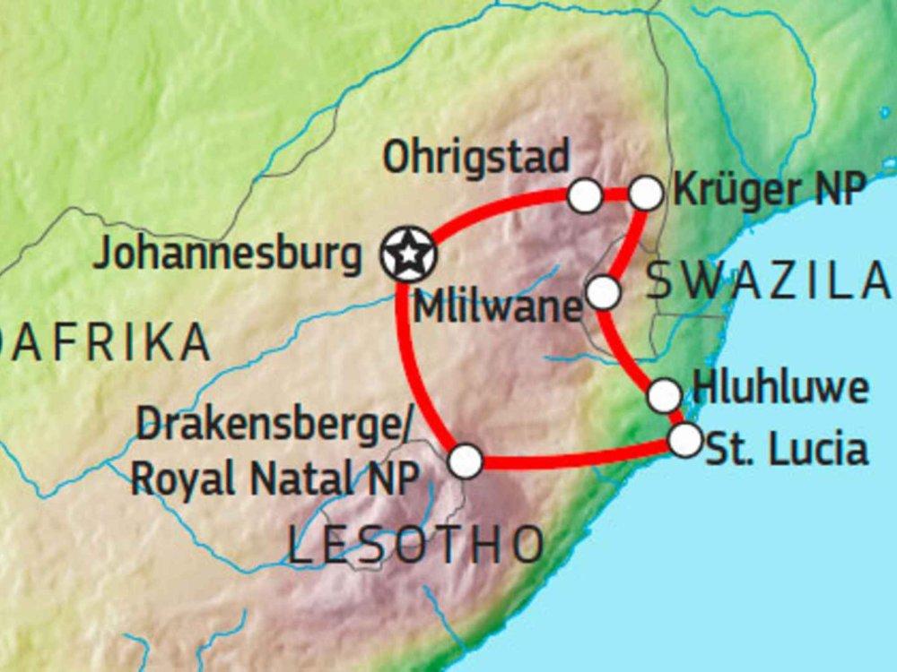 155Y10400 Drakensberge & Krüger Selbstfahrertour Karte