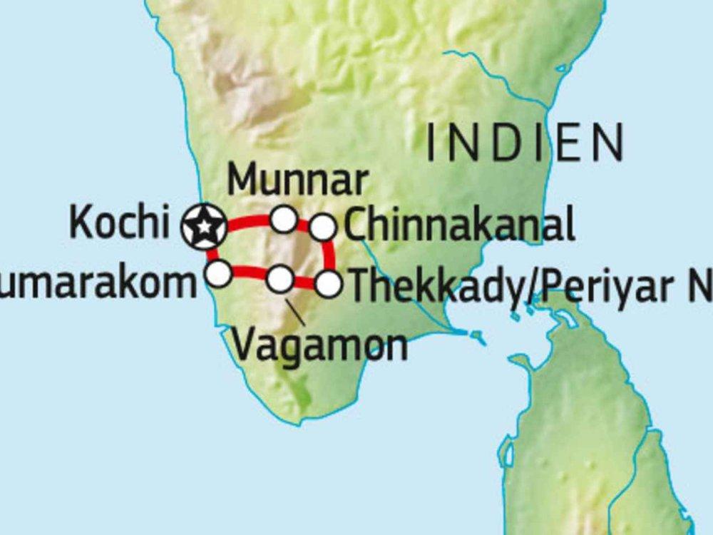 180C30010 Kerala Fahrradtour Karte