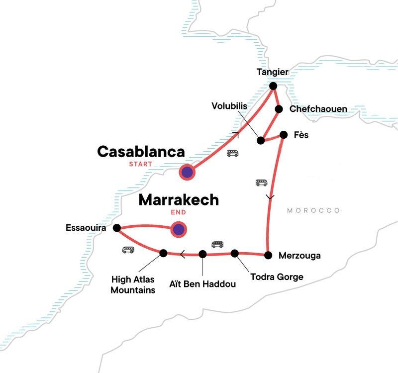 Marokko erleben Von Casablanca nach Marrakesch Karte