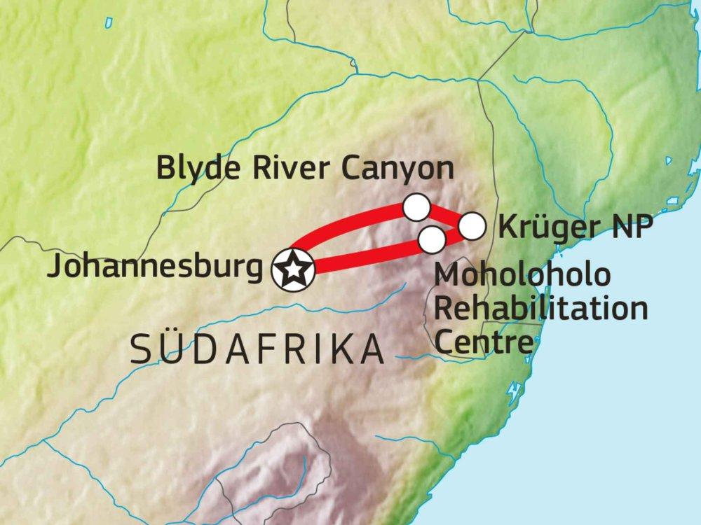 155Y20008 Krüger Nationalpark Lodge Safari V Karte