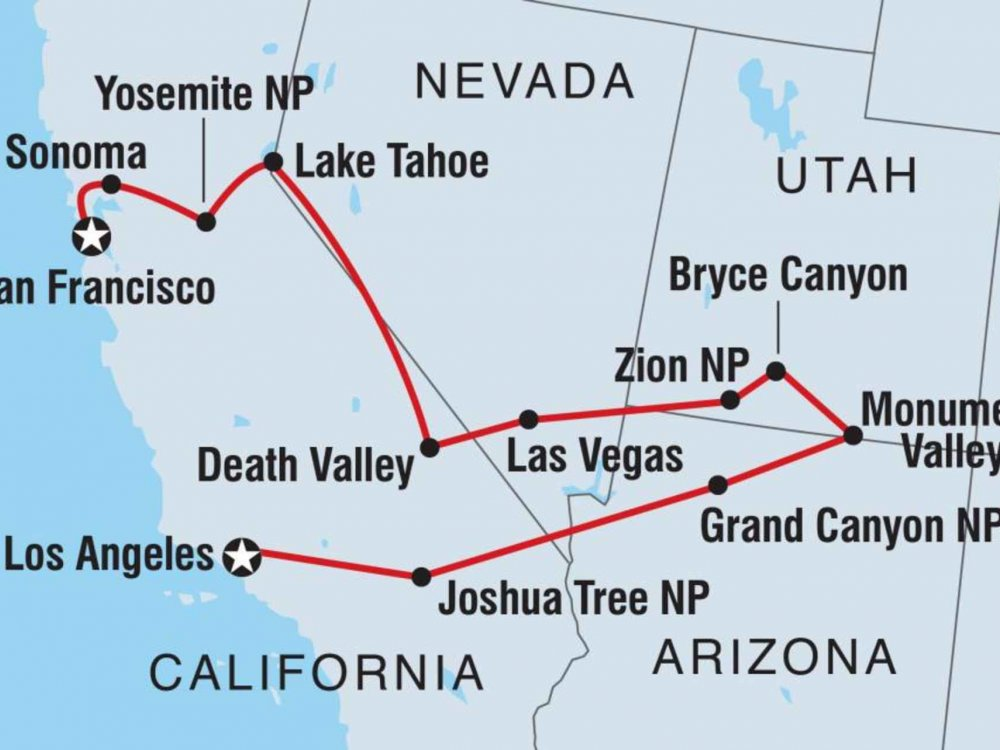 Nationalparks im Westen der USA Karte