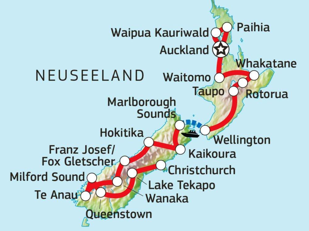 101Y31008 Neuseeland mit dem Mietwagen entdecken Karte