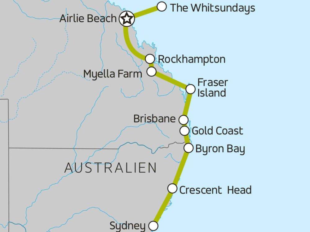 117Y10055 Sydney, Gold Coast & Whitsundays II Karte