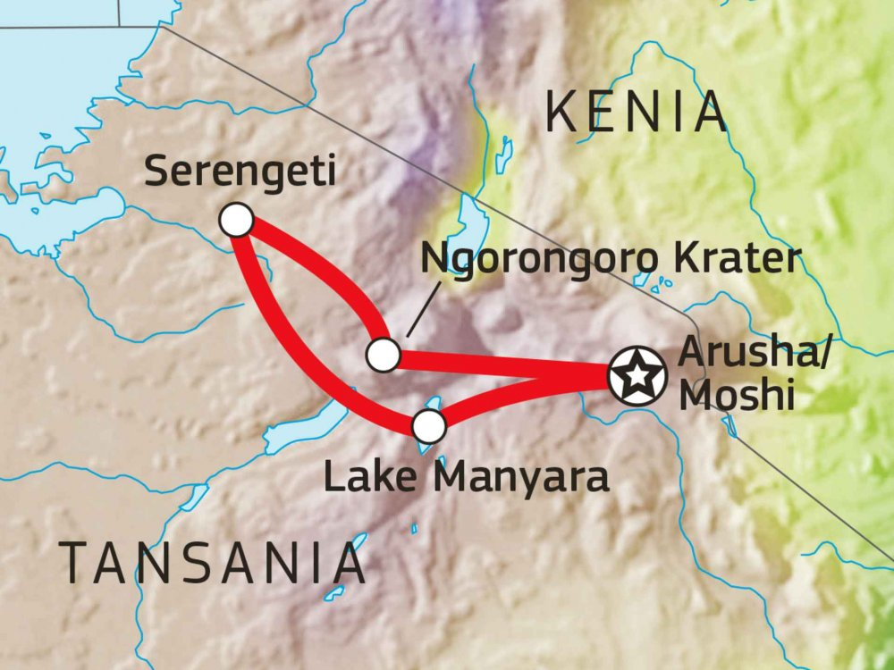 Tansania Abenteuer-Safari Tarangire, Serengeti und Ngorongoro Karte