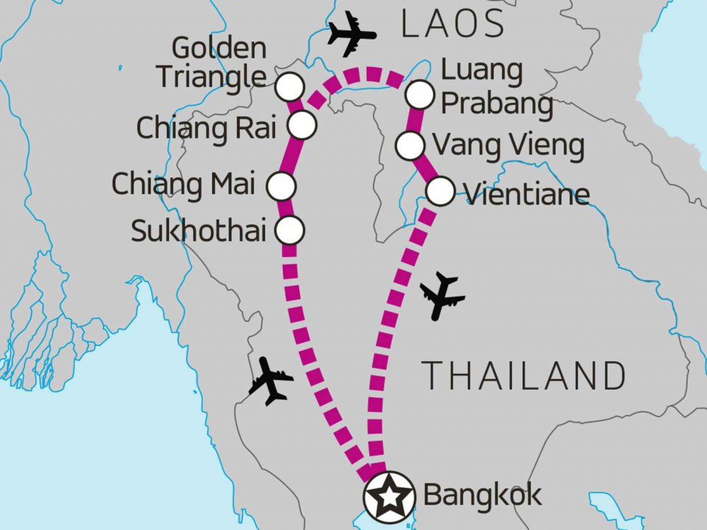 135Y10271 Erlebe Laos und Thailand Karte