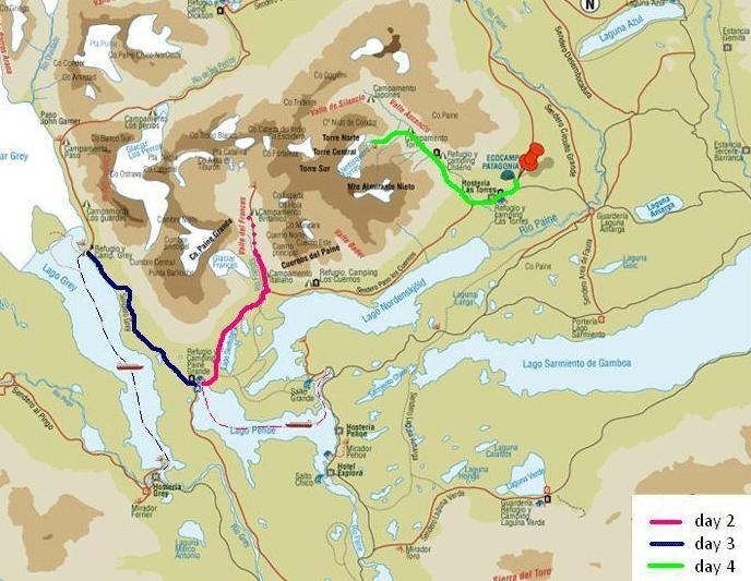 186Y41003 Torres del Paine - W Trek Karte