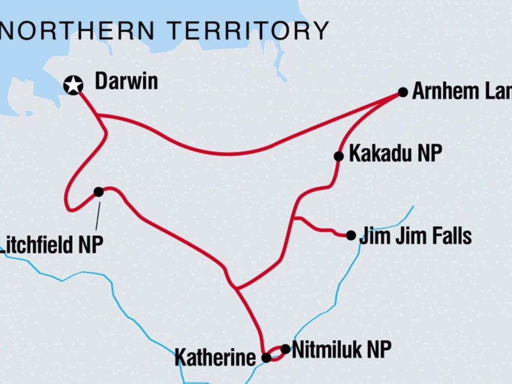 104Y20008 Höhepunkte des Northern Territory Karte