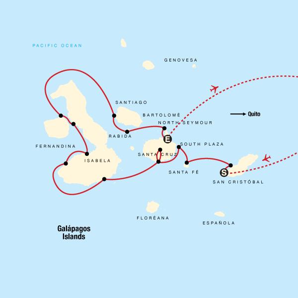 Karte Galapagos Kreuzfahrt - Westliche, zentrale & östliche Inseln