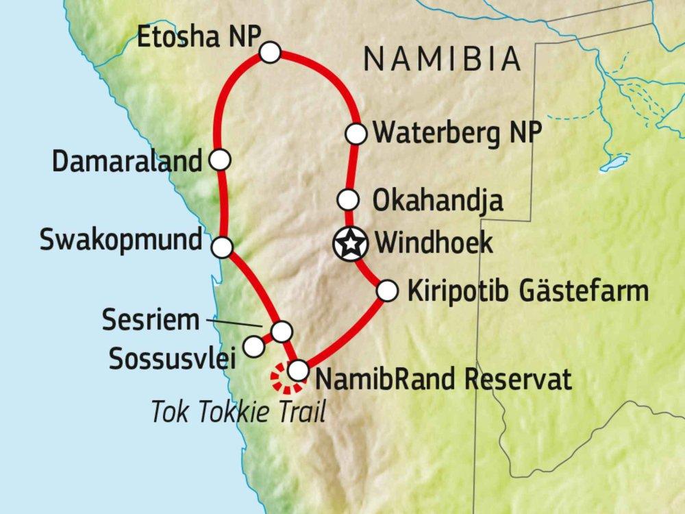 156T00005 Erlebnis Namibia & Tok Tokkie Trail Karte
