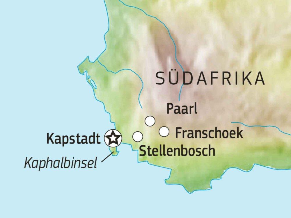 156T00002 Wein- & Genießertour Südafrika Karte