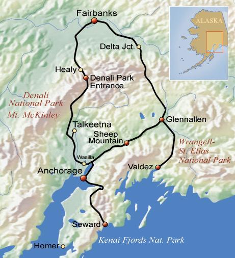 Alaska Highlights Karte