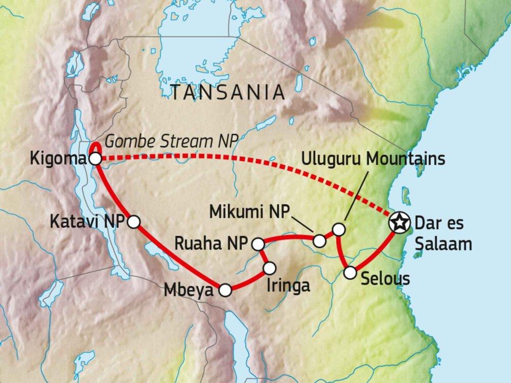 140R21001 Naturreise in das wilde Herz Tansanias Karte