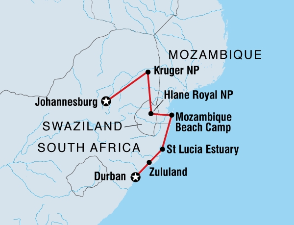122Y60051 Krüger Park & Durban Karte