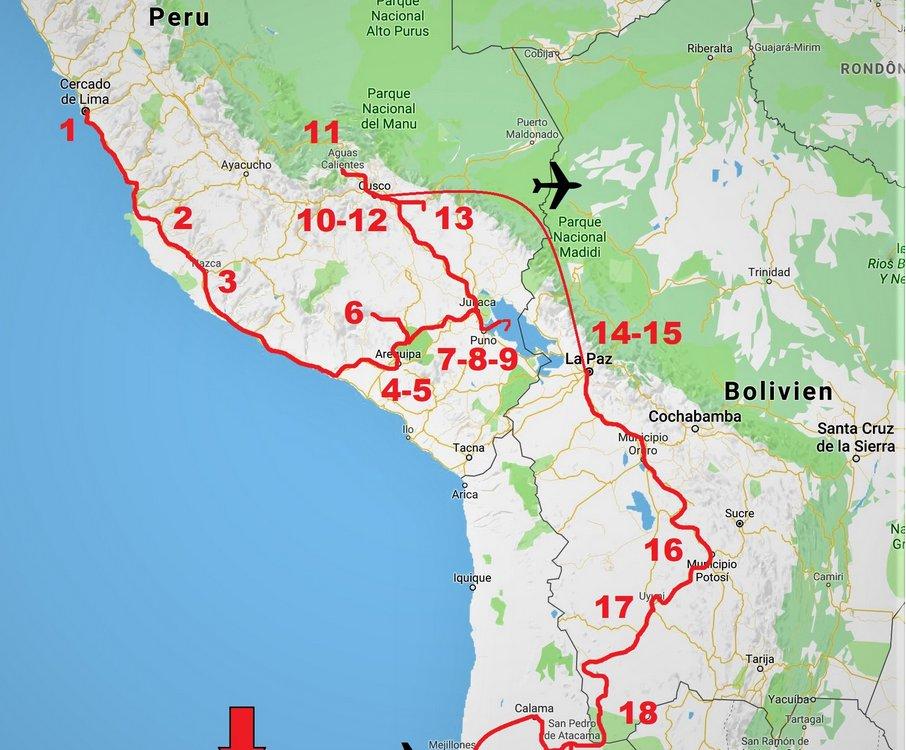 Auf den legendären Pfaden der Inka_Karte