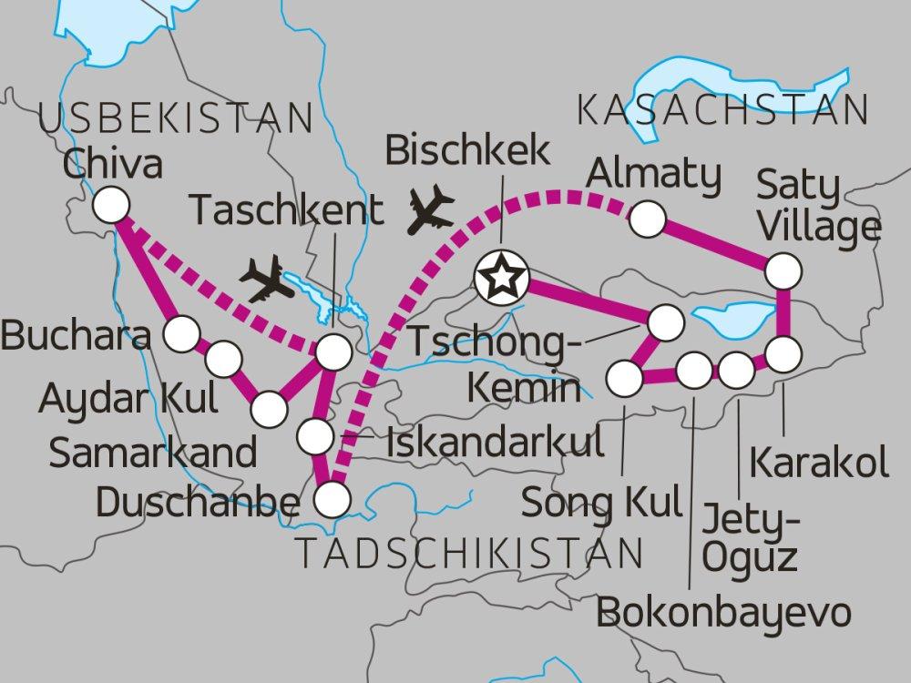 Karte Zentralasien Rundreise