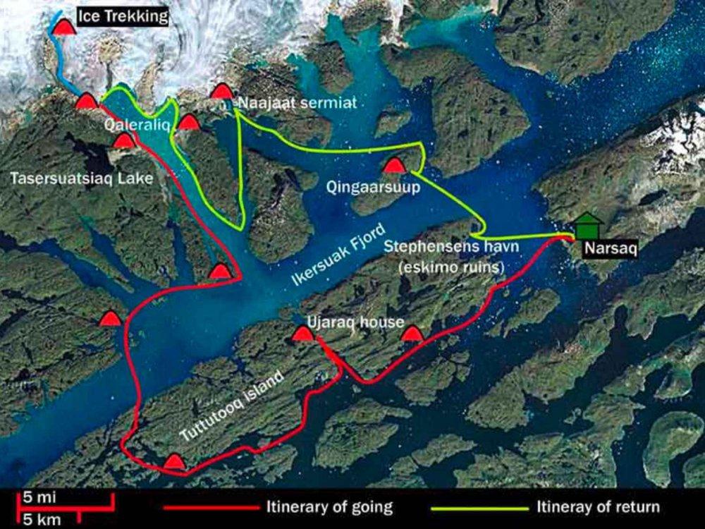 170Y31003 Kajak und Gletscherwanderung in Grönland Karte