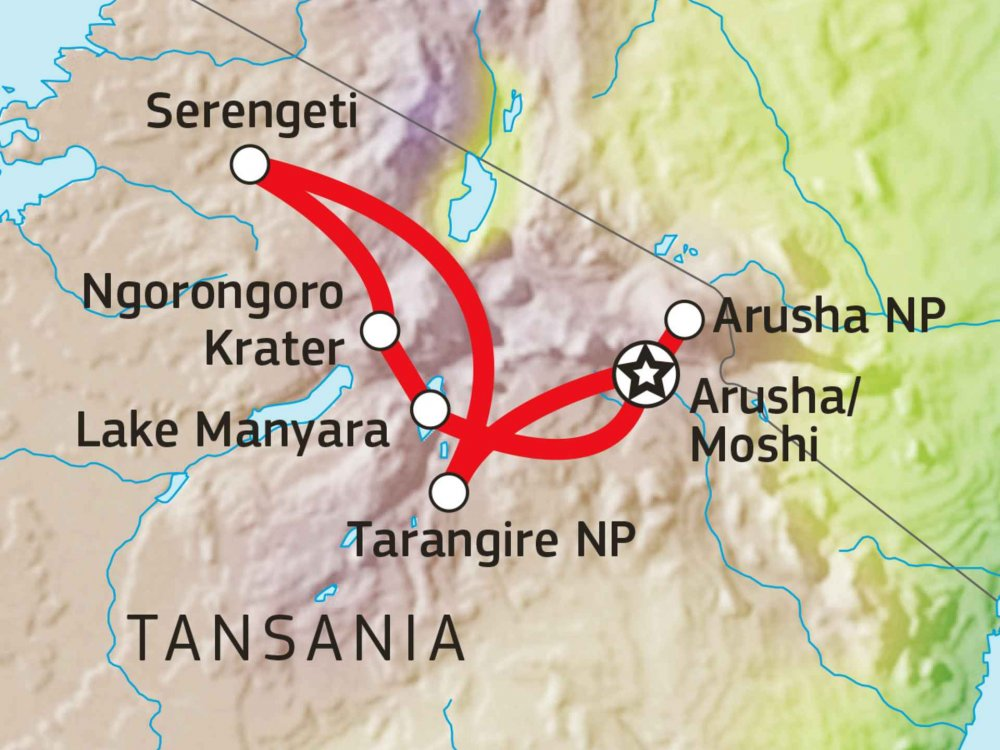 Tansania Safari intensiv: Pirschfahrten in fünf Naturschutzgebieten Karte