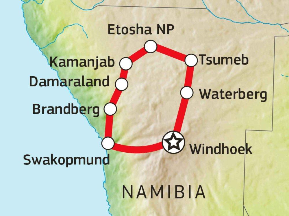 171Y10010 Namibias Norden: Wildnis & Küste Karte