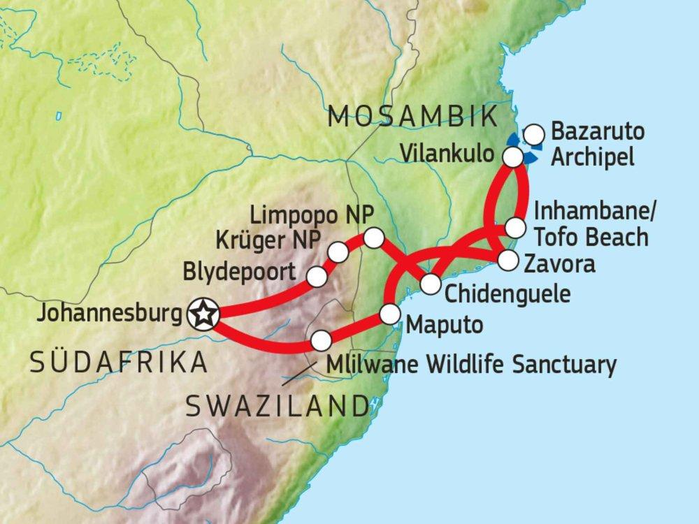 114Y32003 Mosambik Wildnis & Strände Karte