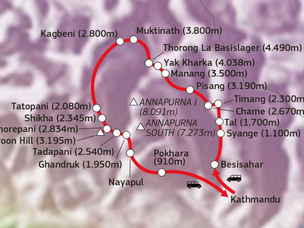 136Y10158 Nepal Trekkingtour - Annapurna Umrundung Karte
