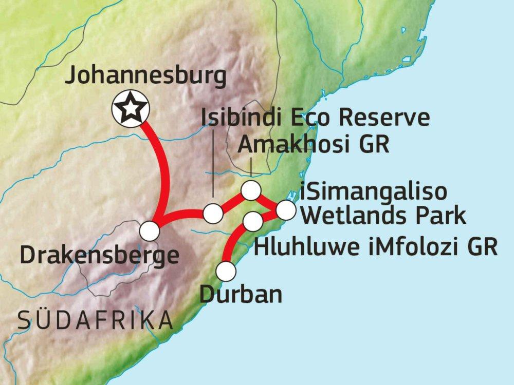 155Y10401 Drakensberge, Wildnis & Strand Karte