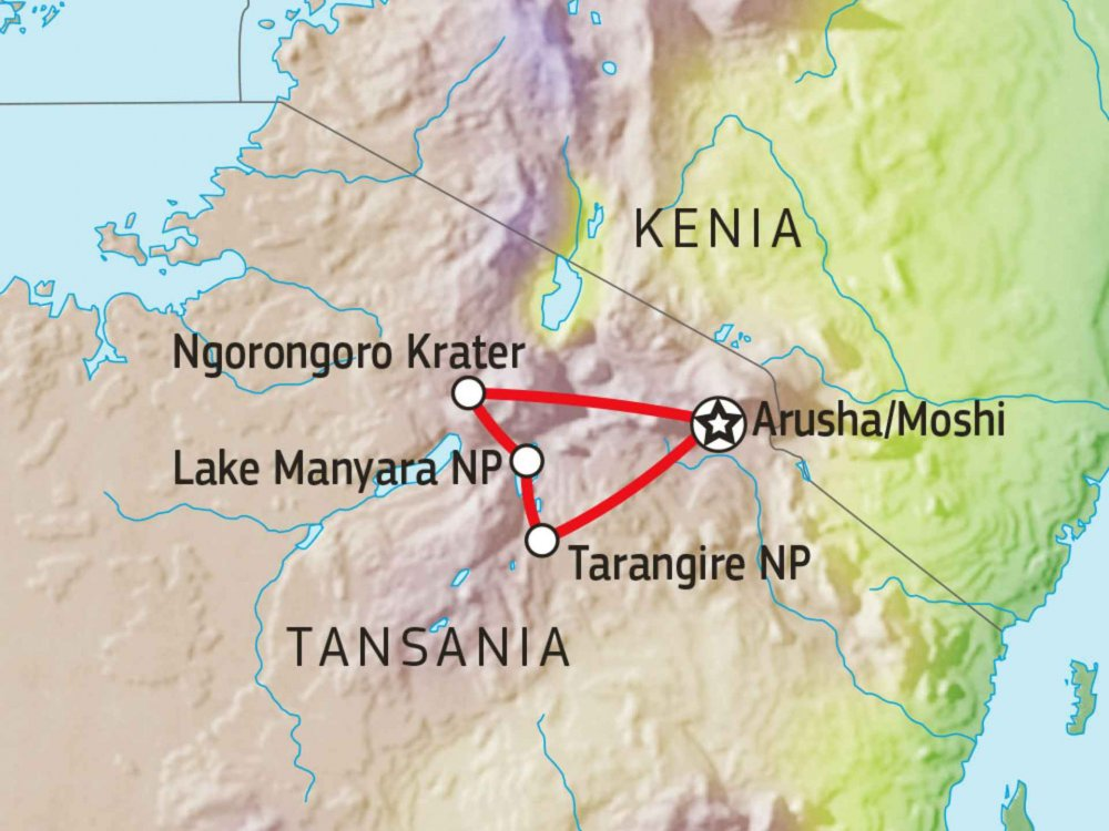 140E11009 Nationalpark Safari Nord Tansania II Karte