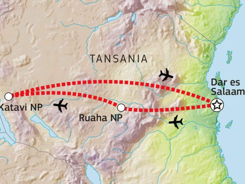 143Y10005 Ruaha & Katavi Nationalpark Safari Karte