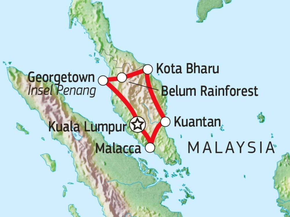 182C12002 Mit dem Mietwagen durch Westmalaysia Karte