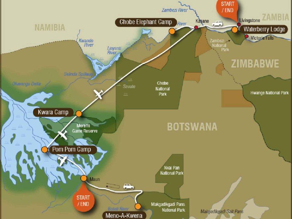 141Y10002 Botswana Lodge Explorer Safari Karte