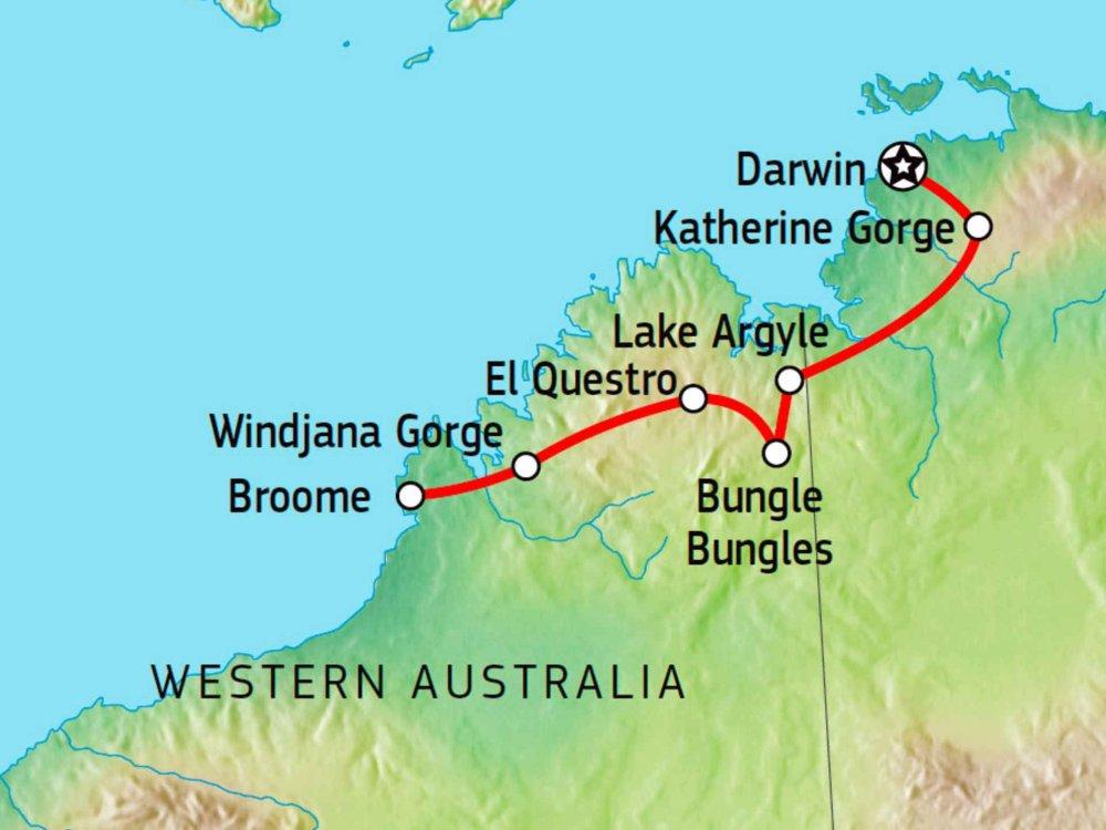 104Y20032 Allrad-Abenteuer Darwin nach Broome Karte