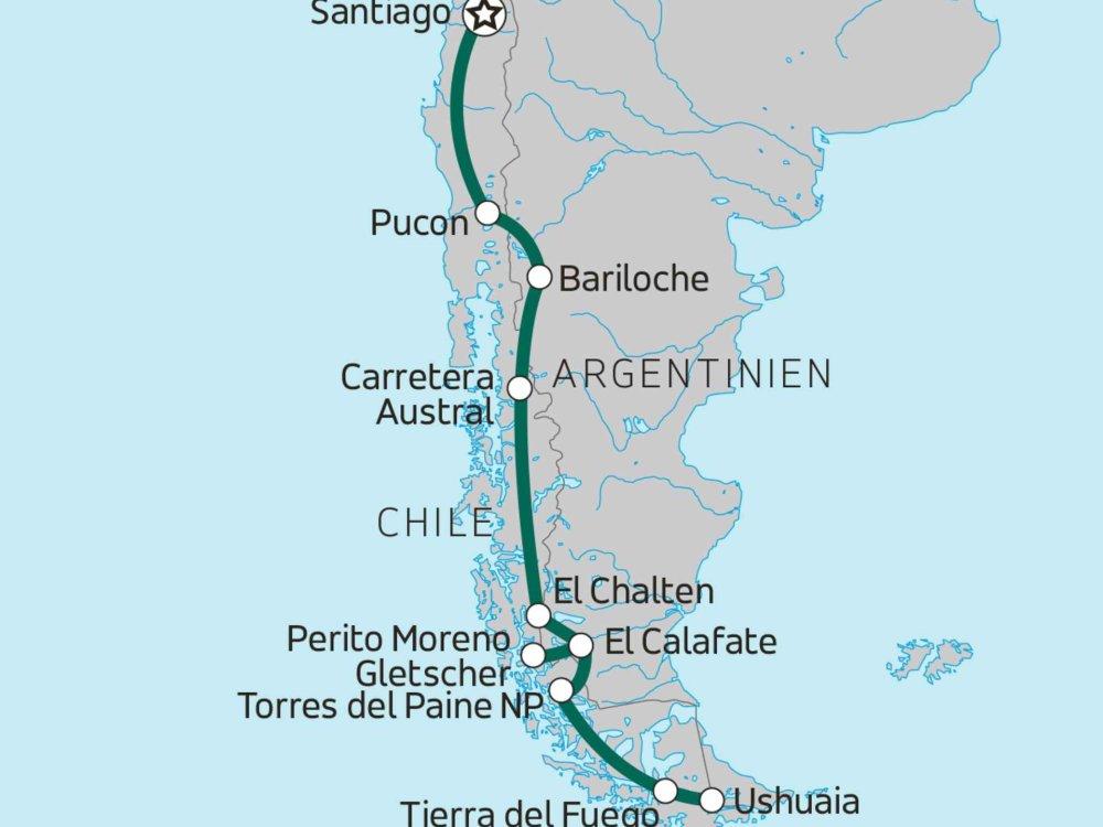 Overland-Abenteuer Patagonien Feuerland Karte