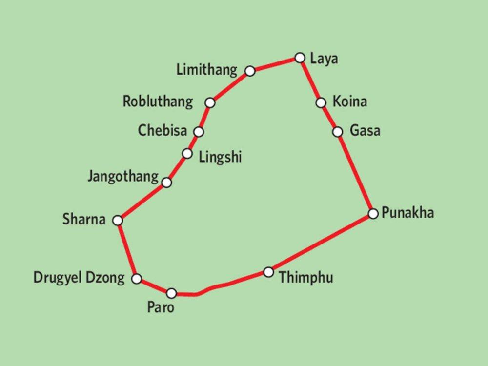 169Y10004 Bhutan - Laya Gasa Trekking Karte
