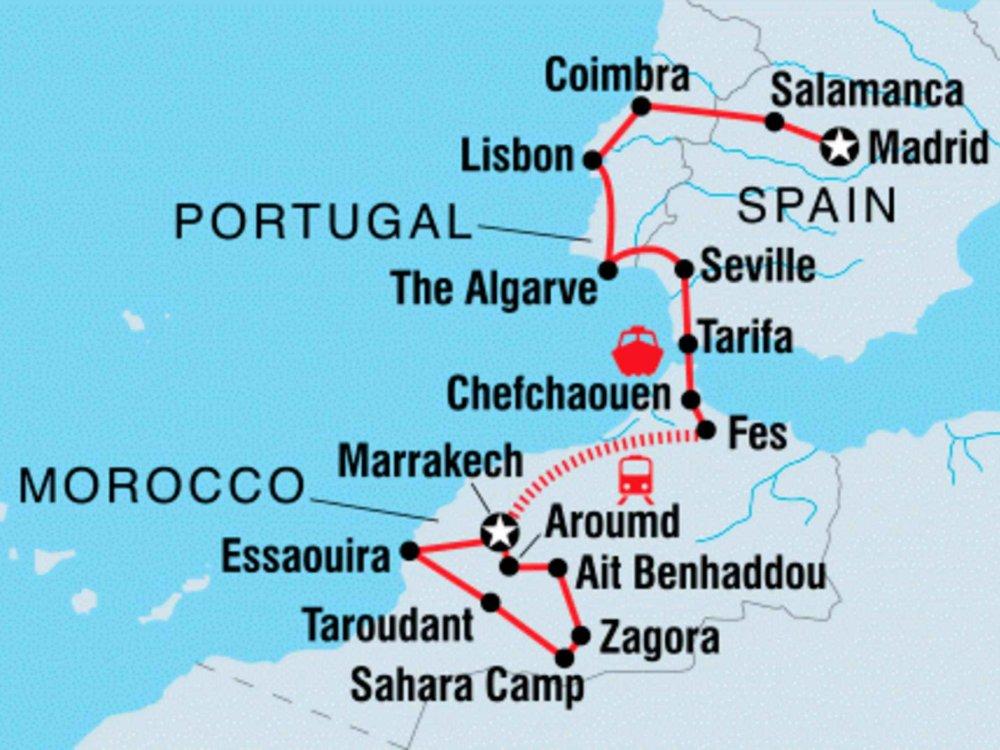 122Y21038 Spanien, Portugal & Marokko Karte