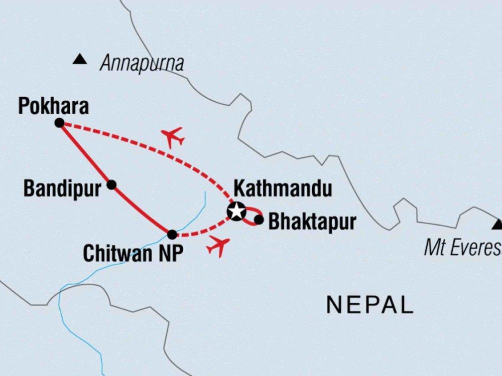 Nepal Erlebnisreise Karte