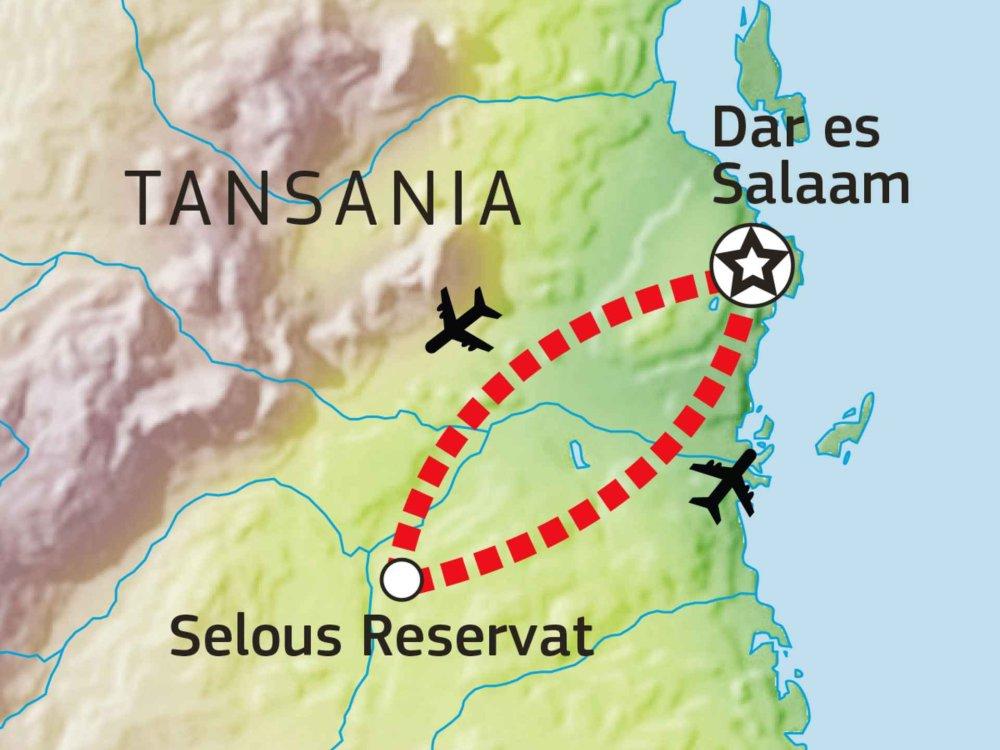 143Y10001 Flugsafari: Selous Wildreservat Karte