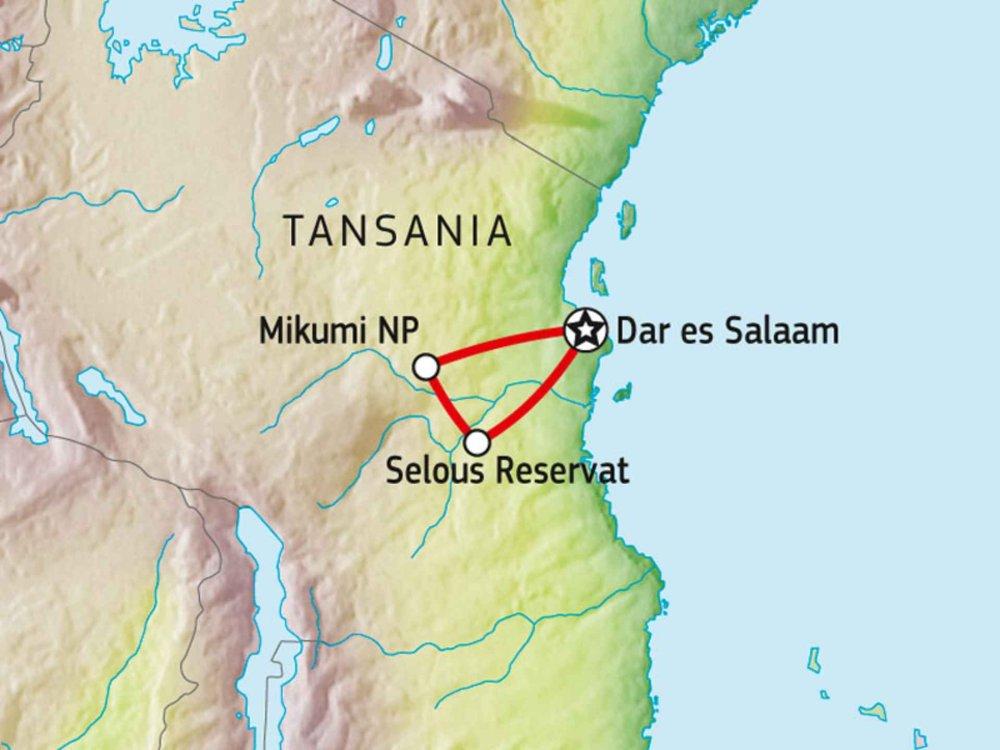 140Y21003 Lodge-Safari Selous & Mikumi Nationalpark Karte