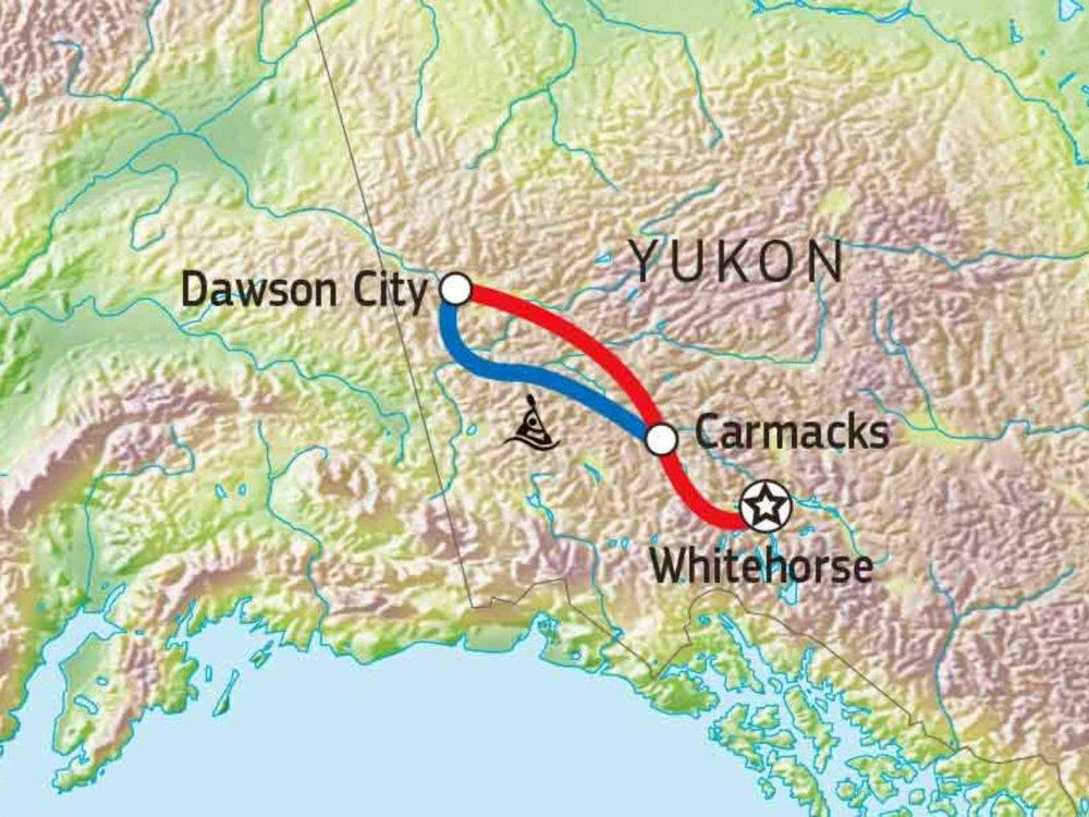 187Y31003 Yukon River Kanutour Carmacks - Dawson City Karte