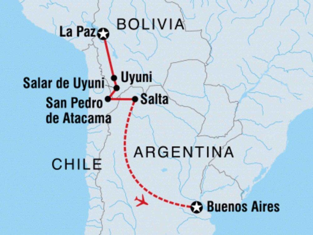131Y21154 Abenteuertour von Bolivien nach Argentinien Karte