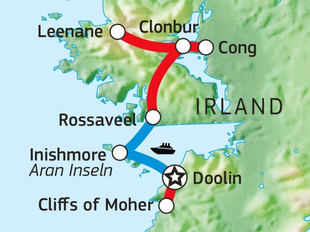 123H10010 Wanderreise Connemara & Burren Karte