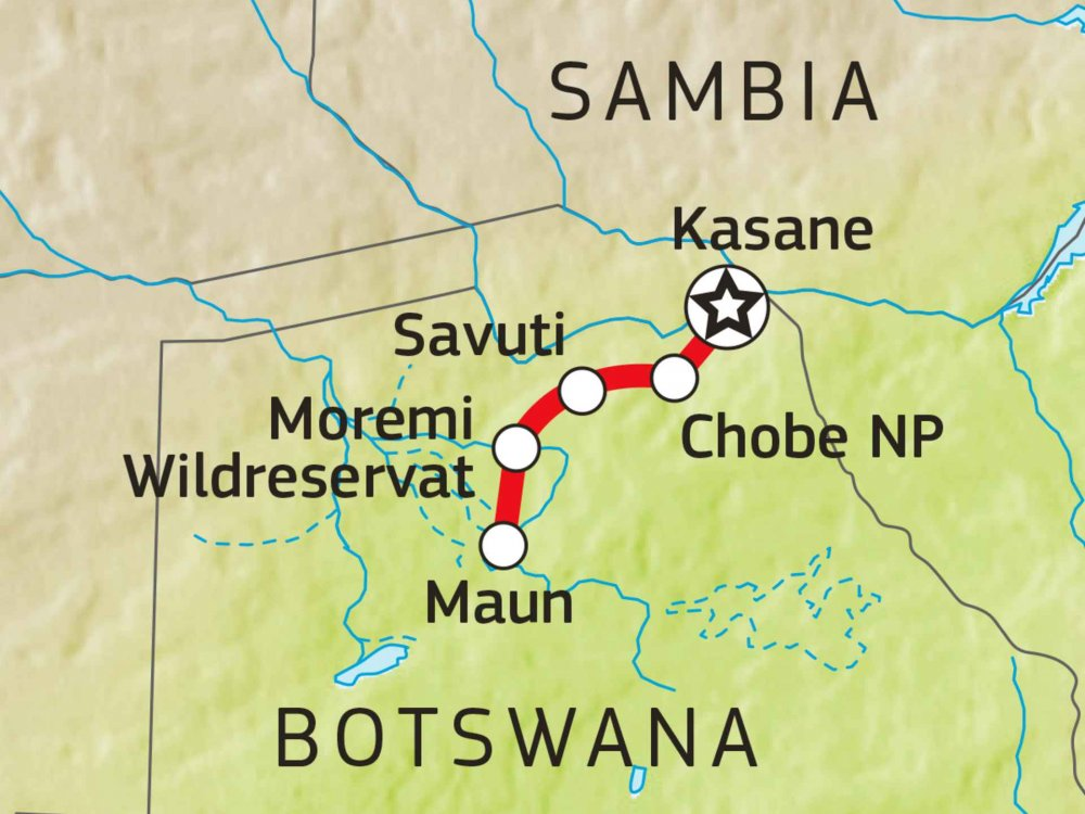 Botswana Komfort Camping-Safari Karte