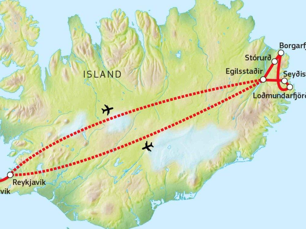 144S10003 Ostisland - Wandern am Ende der Welt Karte