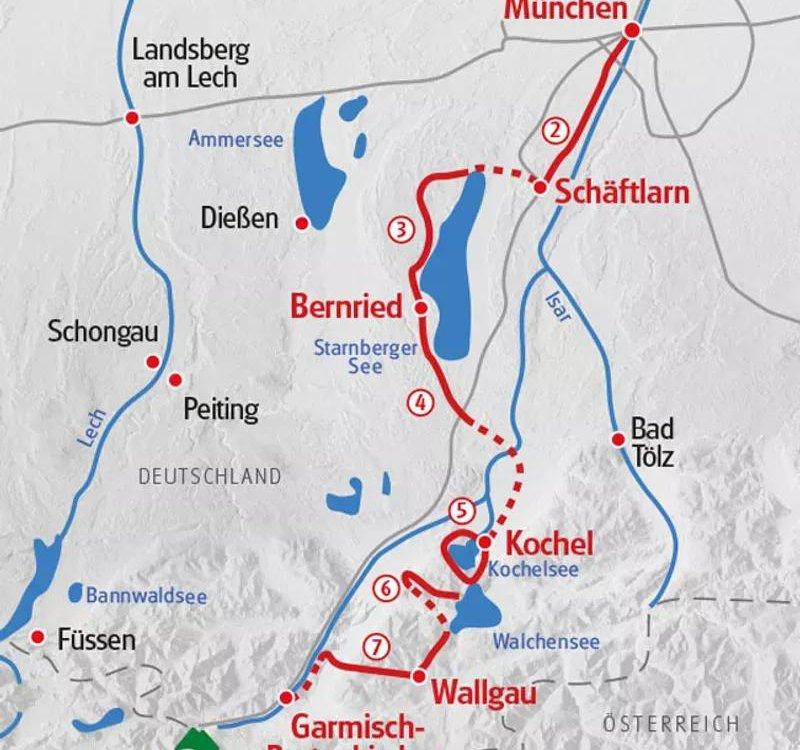 Karte Wandern von München nach Garmisch