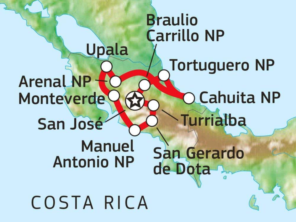 Pura Vida - Kreuz & Quer durch Costa Rica Karte